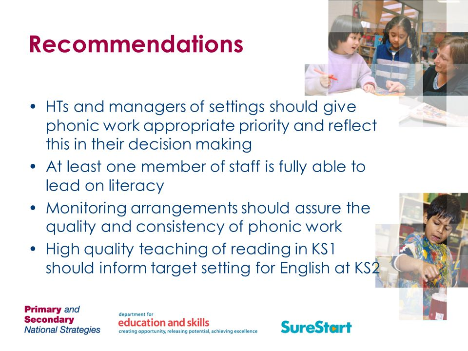 Recommendations HTs and managers of settings should give phonic work appropriate priority and reflect this in their decision making.