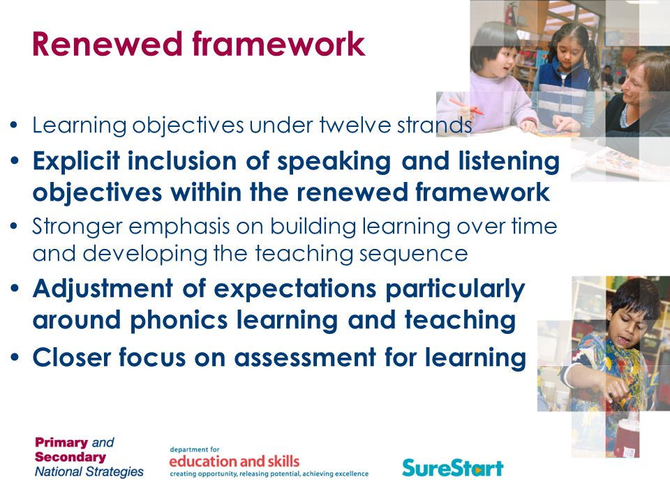 Renewed framework Learning objectives under twelve strands. Explicit inclusion of speaking and listening objectives within the renewed framework.