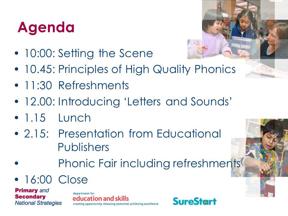 Agenda 10:00: Setting the Scene