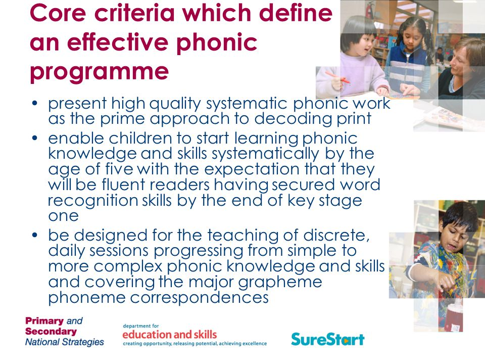 Core criteria which define an effective phonic programme