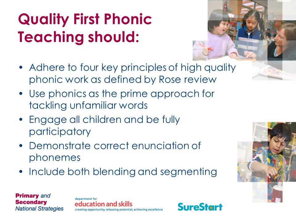 Quality First Phonic Teaching should: