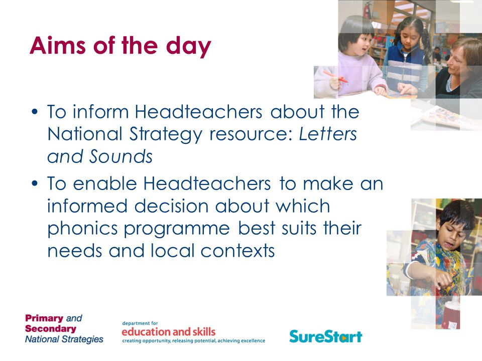 Aims of the day To inform Headteachers about the National Strategy resource: Letters and Sounds.
