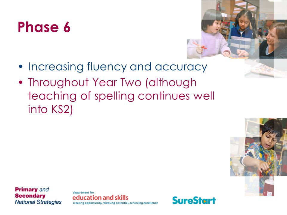 Phase 6 Increasing fluency and accuracy
