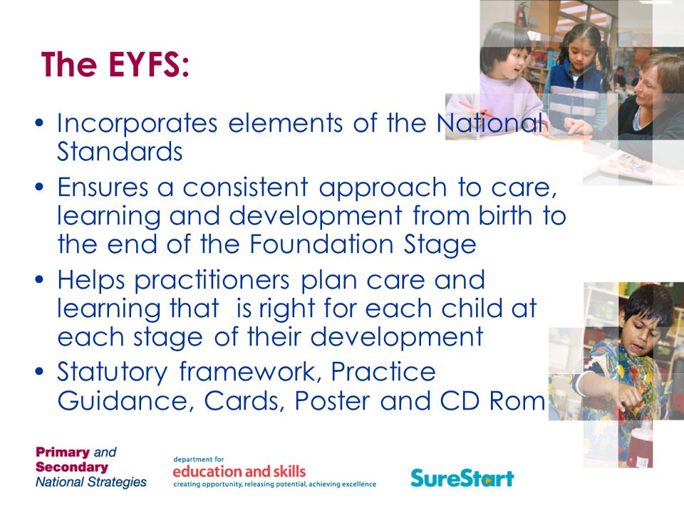 The EYFS: Incorporates elements of the National Standards