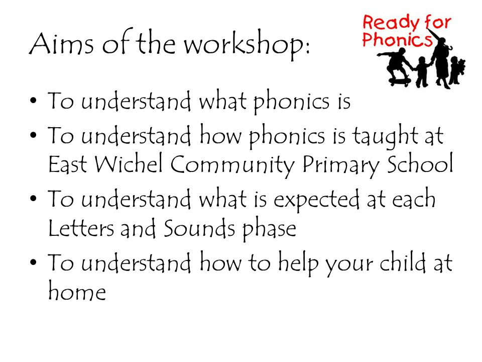 Aims of the workshop: To understand what phonics is