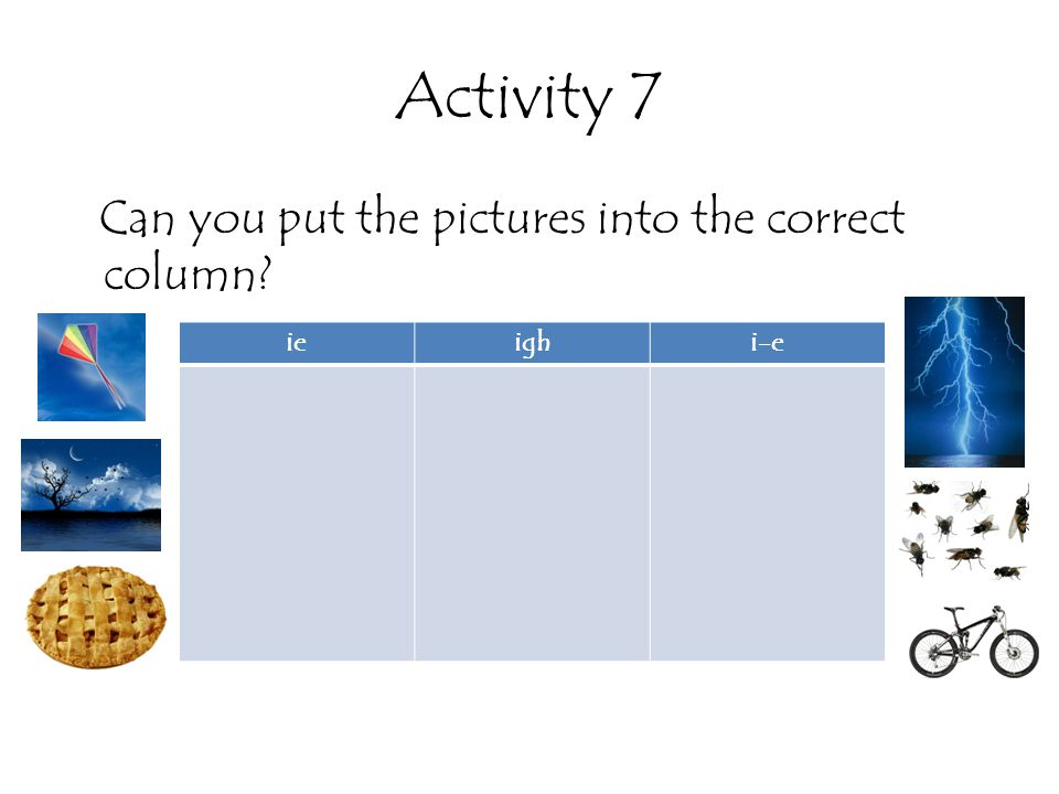 Activity 7 Can you put the pictures into the correct column ie igh