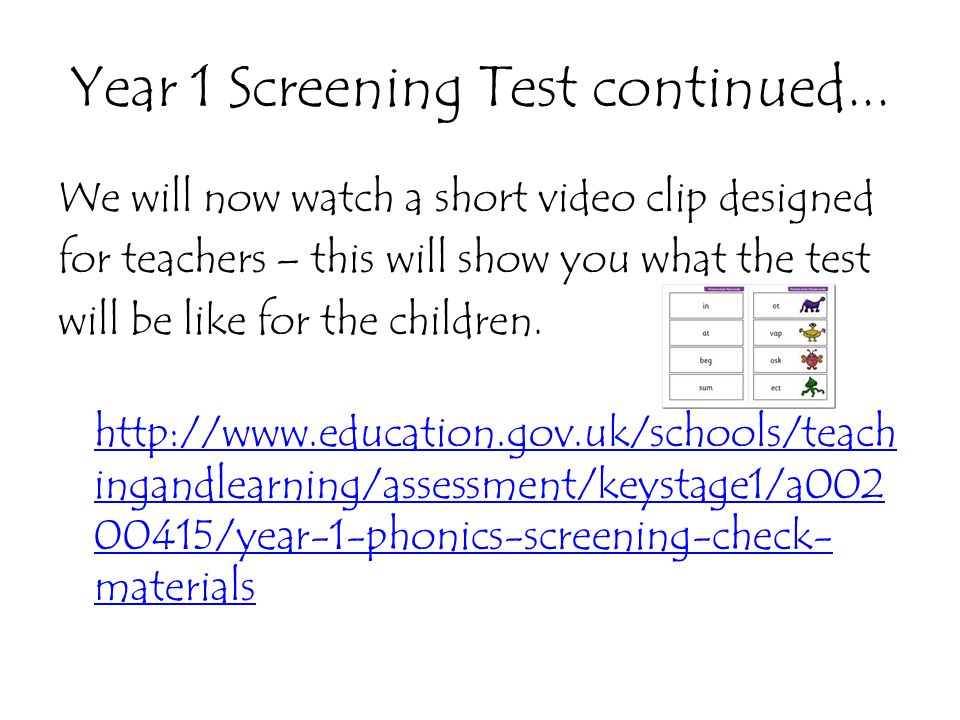Year 1 Screening Test continued...
