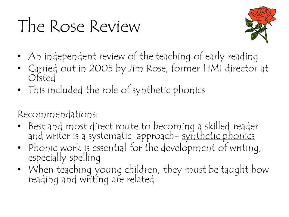 The Rose Review An independent review of the teaching of early reading