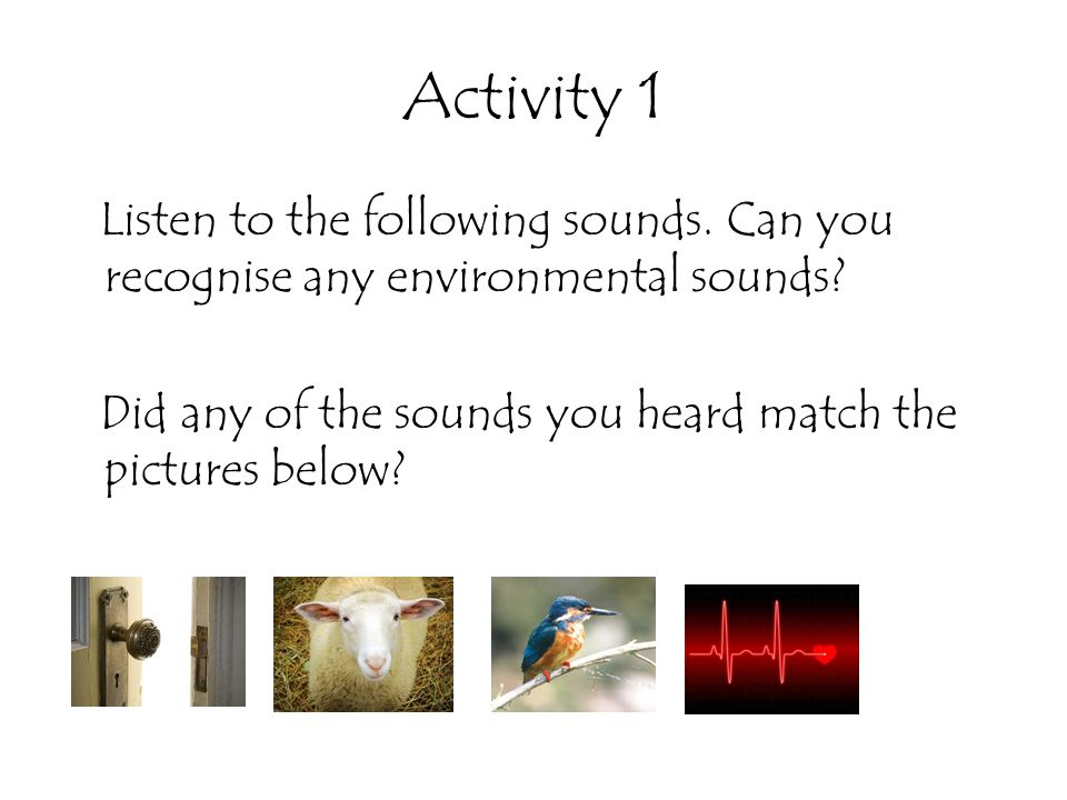 Activity 1 Listen to the following sounds. Can you recognise any environmental sounds.
