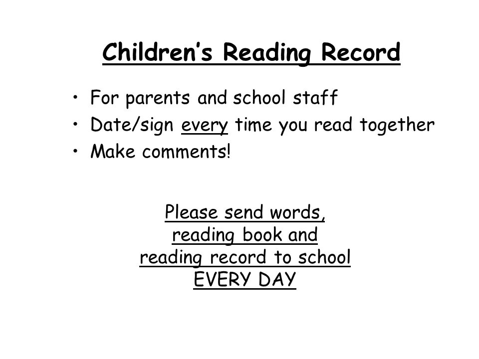 Children's Reading Record
