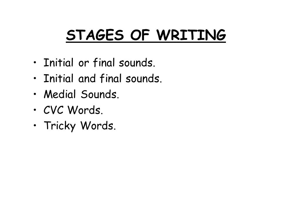 STAGES OF WRITING Initial or final sounds. Initial and final sounds.