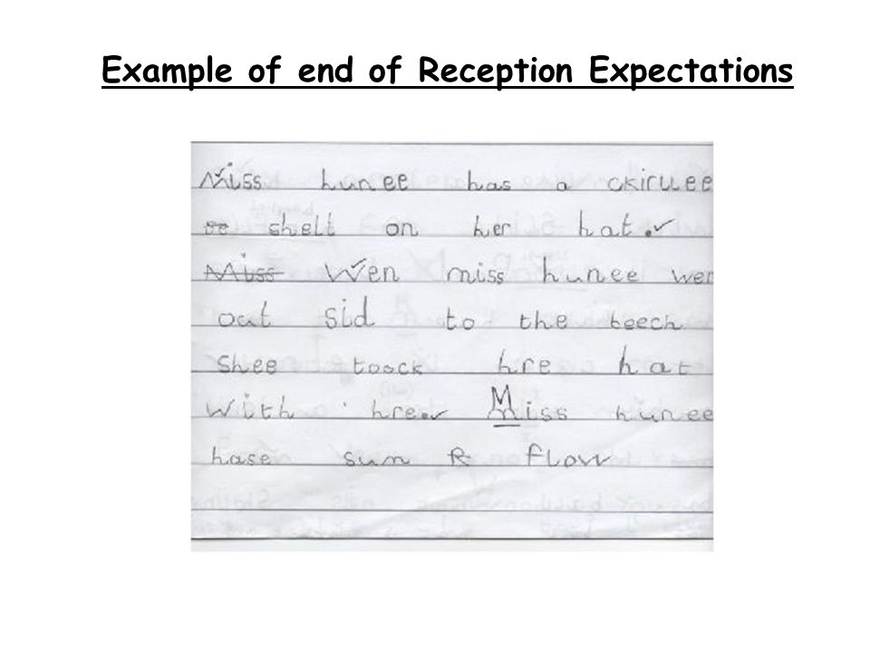 Example of end of Reception Expectations