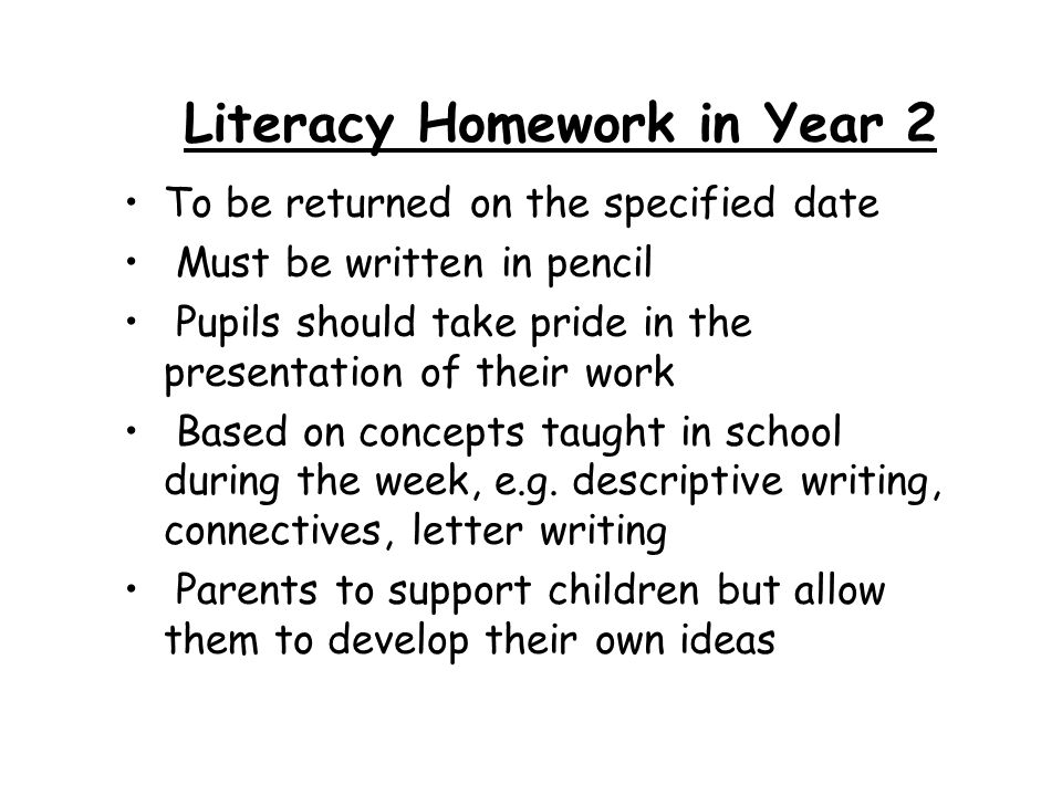 Literacy Homework in Year 2