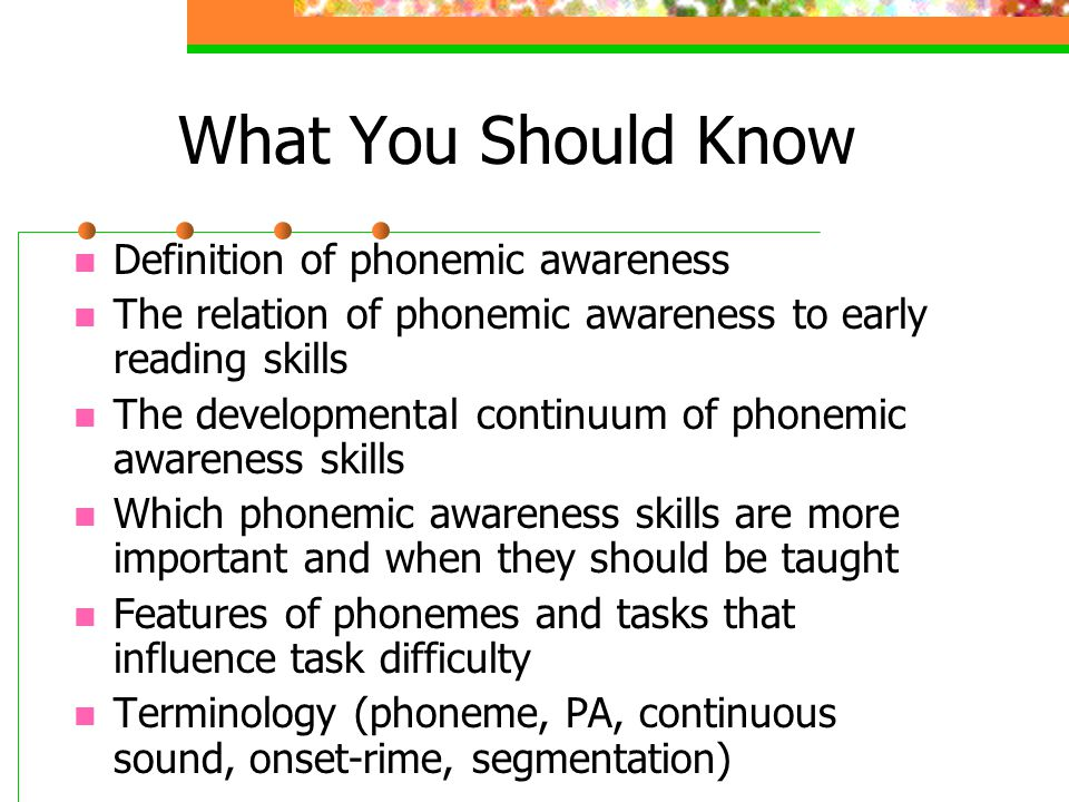 What You Should Know Definition of phonemic awareness