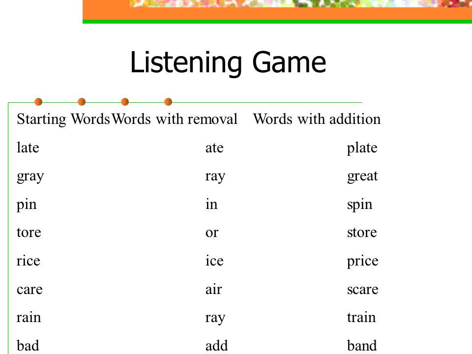 Listening Game Starting Words Words with removal Words with addition