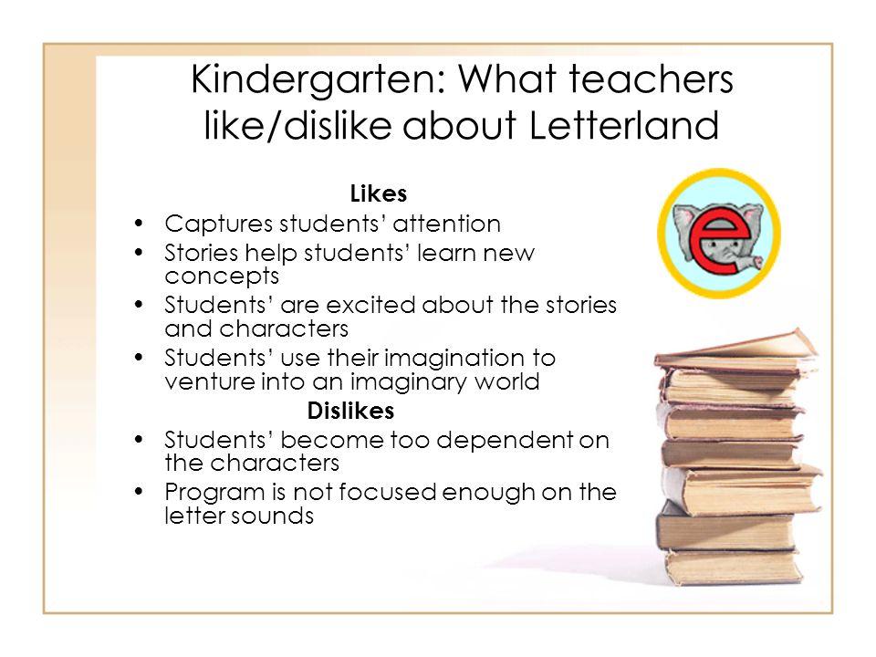 Kindergarten: What teachers like/dislike about Letterland
