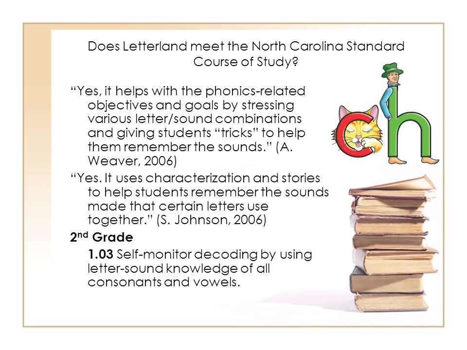 Does Letterland meet the North Carolina Standard Course of Study