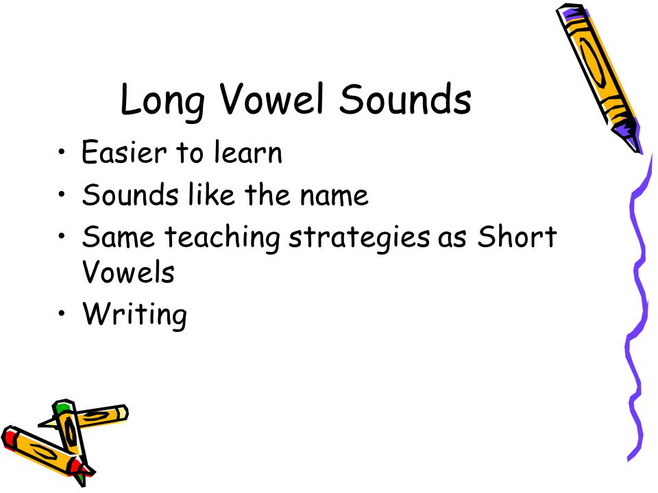 Long Vowel Sounds Easier to learn Sounds like the name
