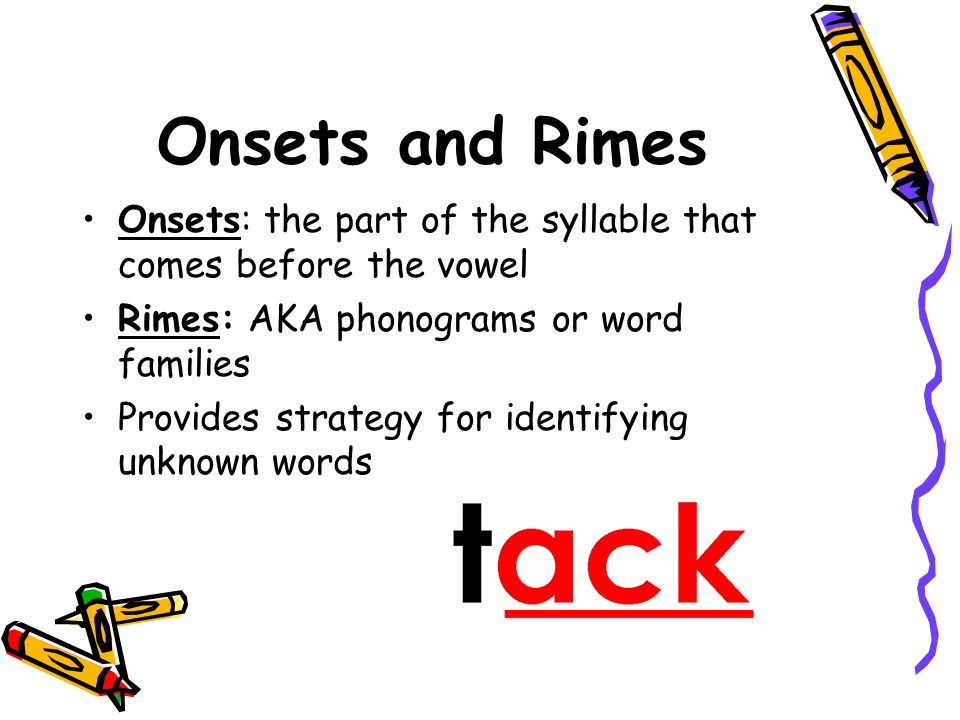Onsets and Rimes Onsets: the part of the syllable that comes before the vowel. Rimes: AKA phonograms or word families.