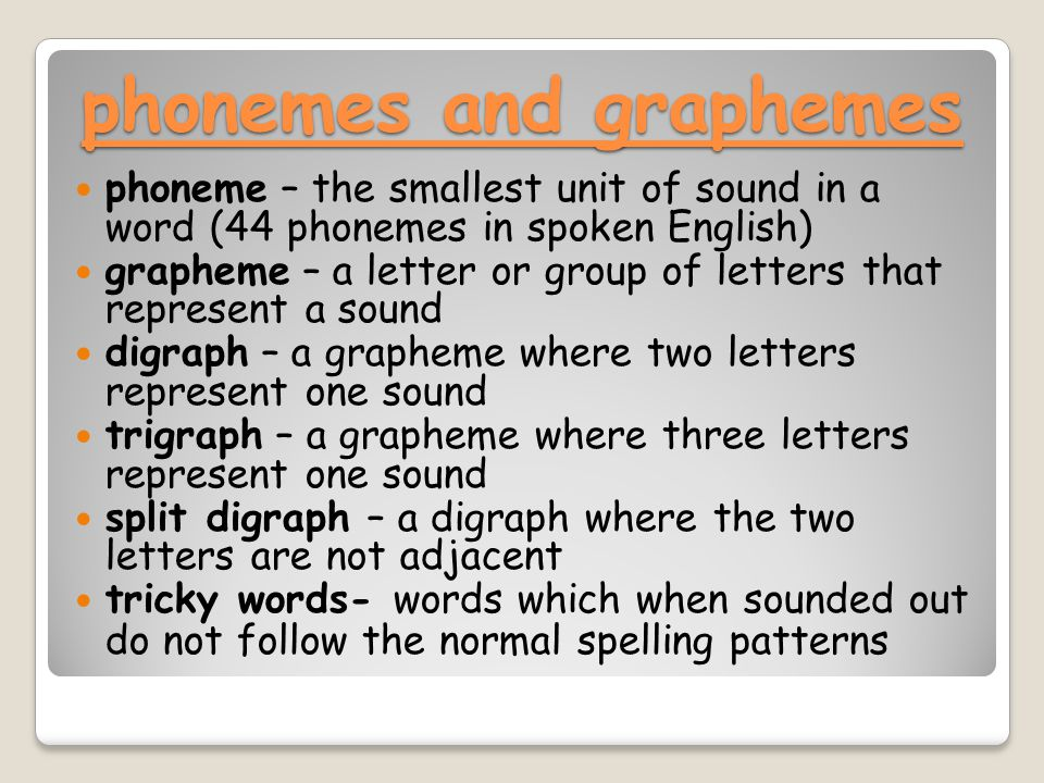 phonemes and graphemes