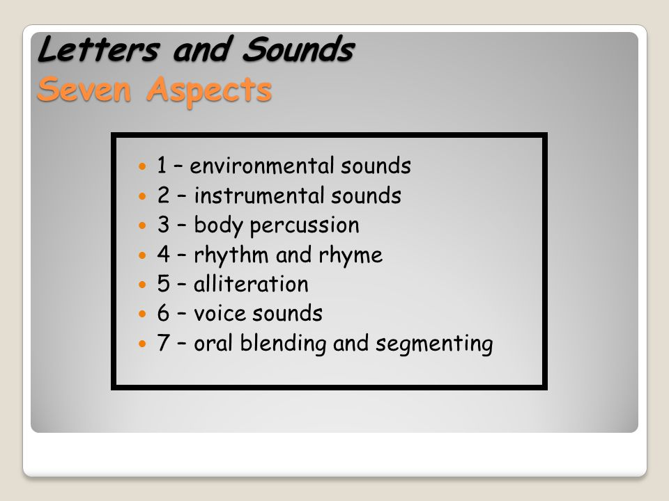 Letters and Sounds Seven Aspects
