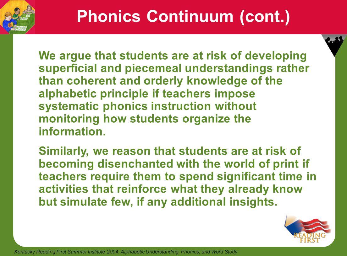 Phonics Continuum (cont.)