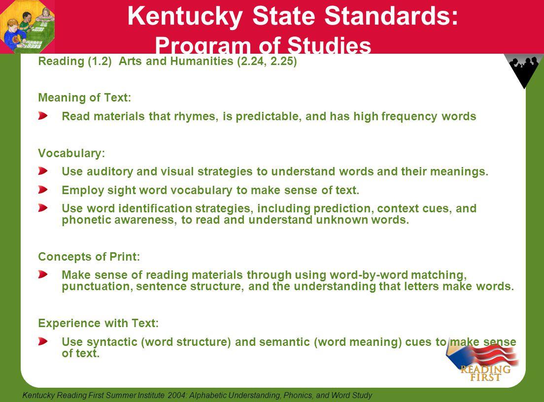 Kentucky State Standards: Program of Studies