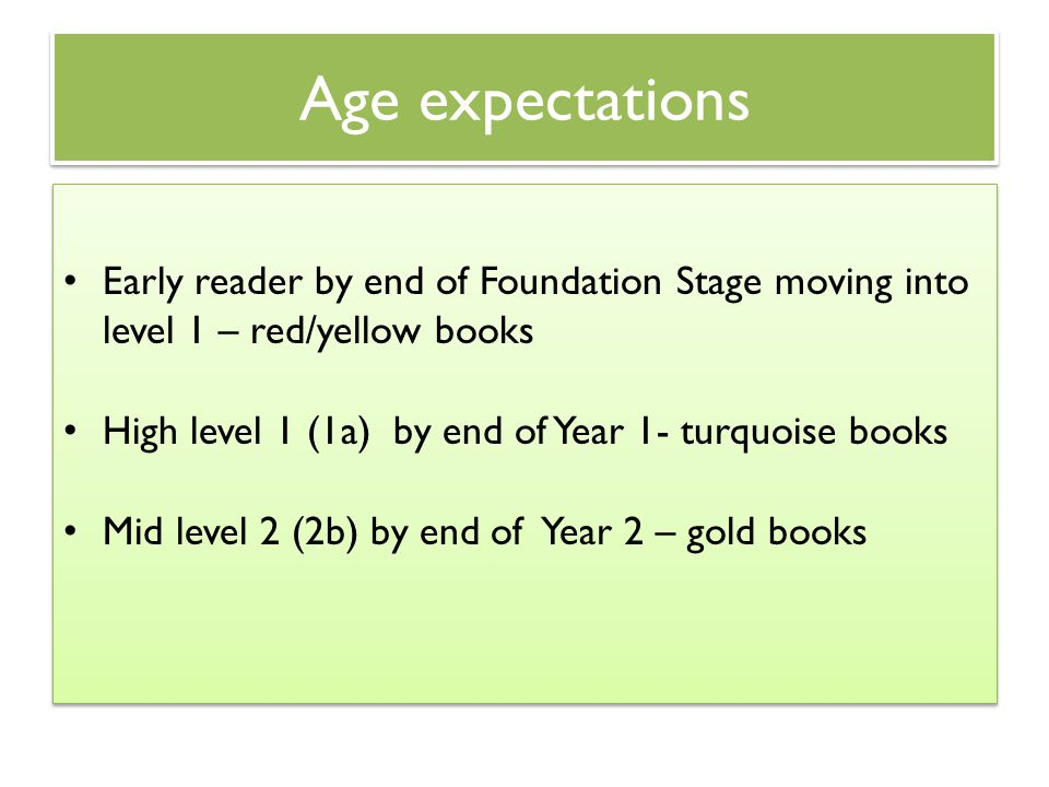 Age expectations Early reader by end of Foundation Stage moving into level 1 – red/yellow books.