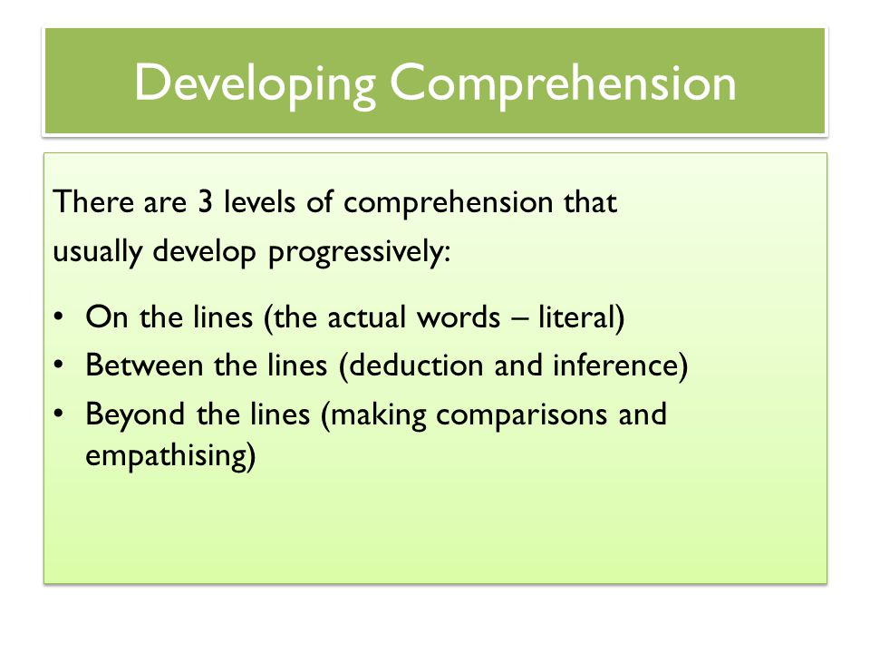 Developing Comprehension