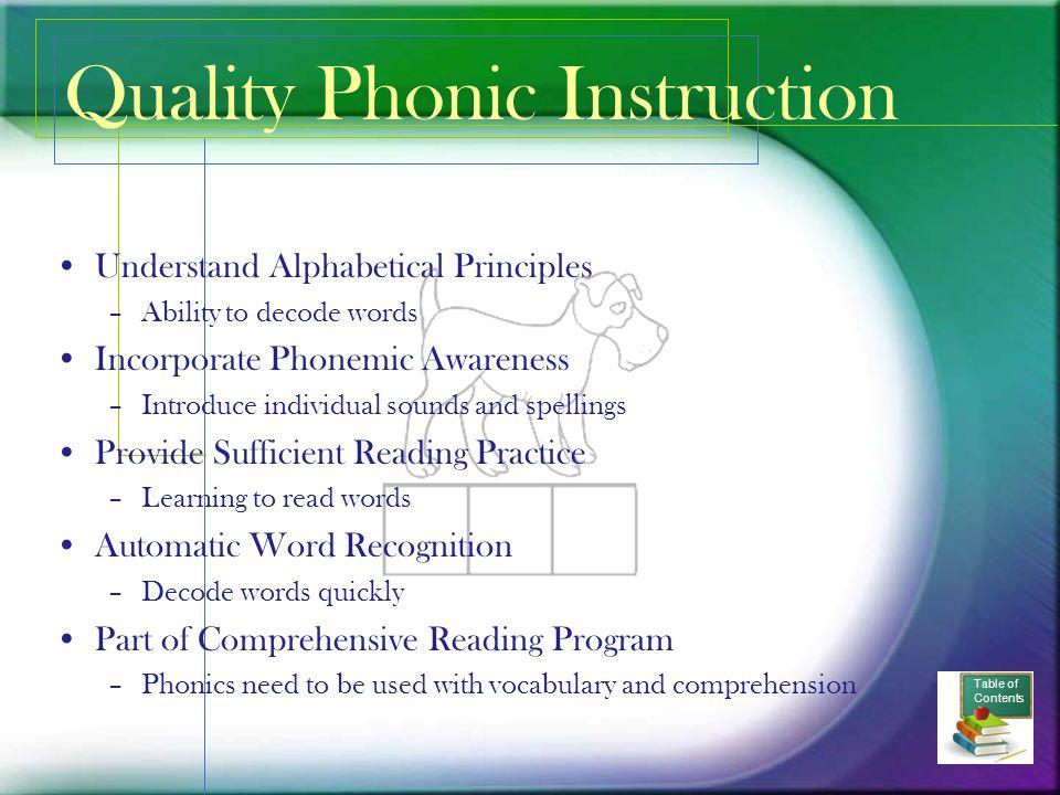 Quality Phonic Instruction