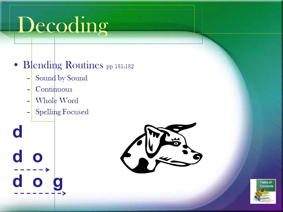 Decoding d d o d o g Blending Routines pp 181-182 Sound by Sound