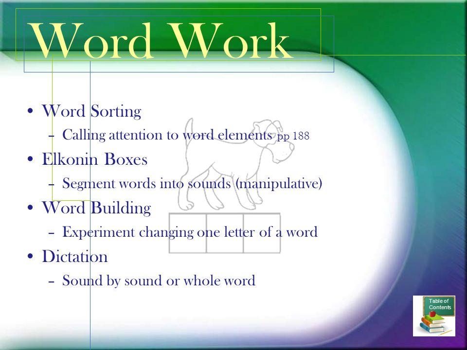 Word Work Word Sorting Elkonin Boxes Word Building Dictation