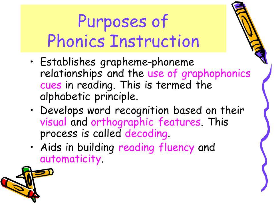 Purposes of Phonics Instruction