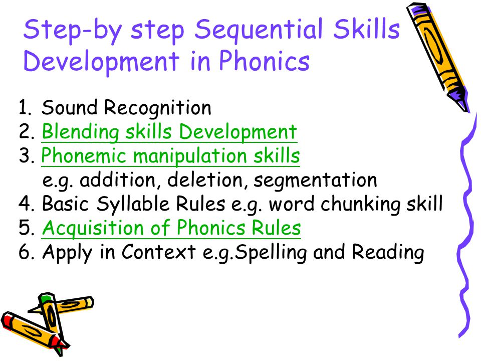 Step-by step Sequential Skills Development in Phonics