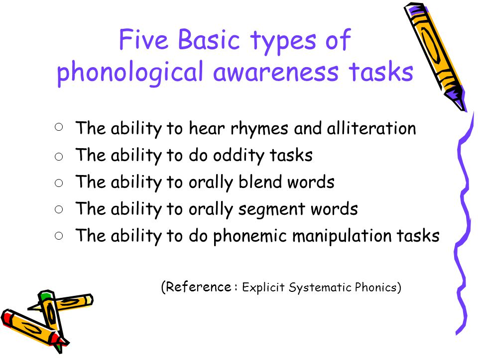 Five Basic types of phonological awareness tasks