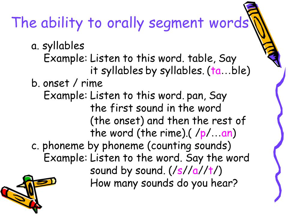 The ability to orally segment words