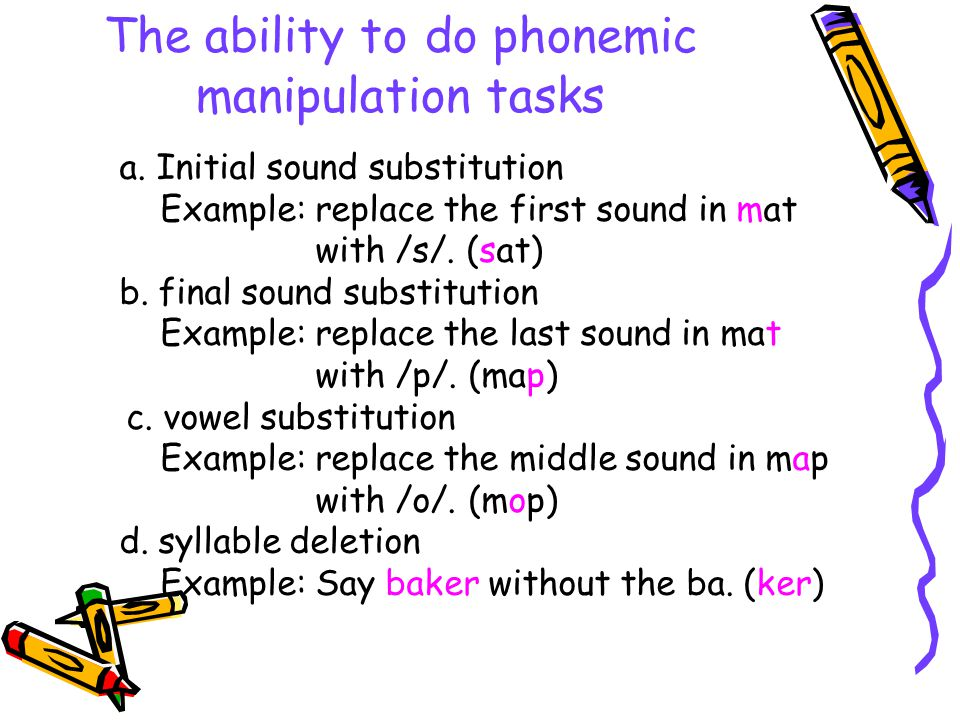 The ability to do phonemic manipulation tasks