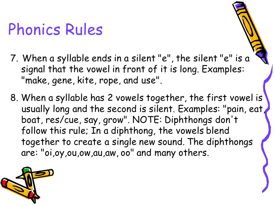 Phonics Rules 7. When a syllable ends in a silent e , the silent e is a. signal that the vowel in front of it is long. Examples:
