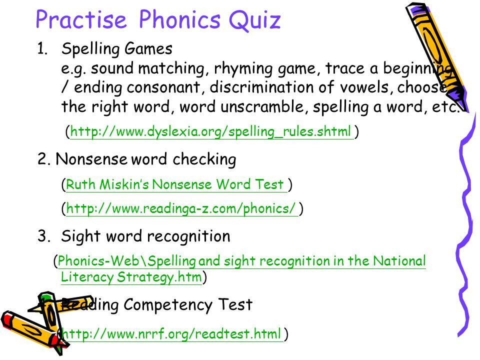 Practise Phonics Quiz