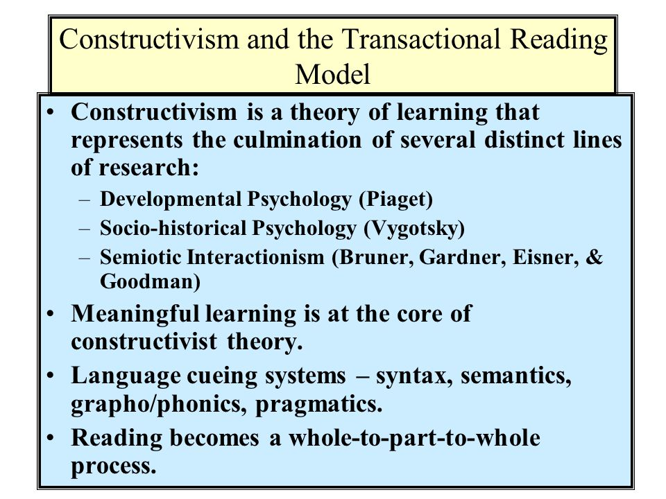 Constructivism and the Transactional Reading Model
