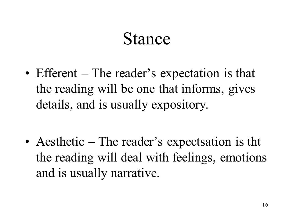 Stance Efferent – The reader's expectation is that the reading will be one that informs, gives details, and is usually expository.