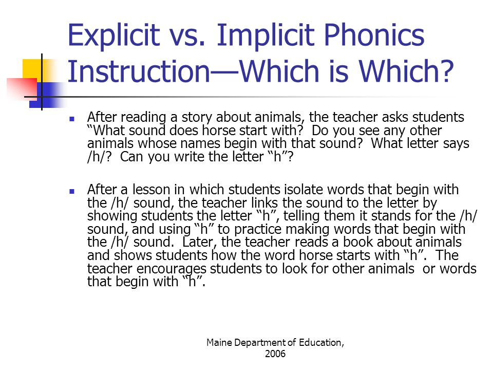 Explicit vs. Implicit Phonics Instruction—Which is Which