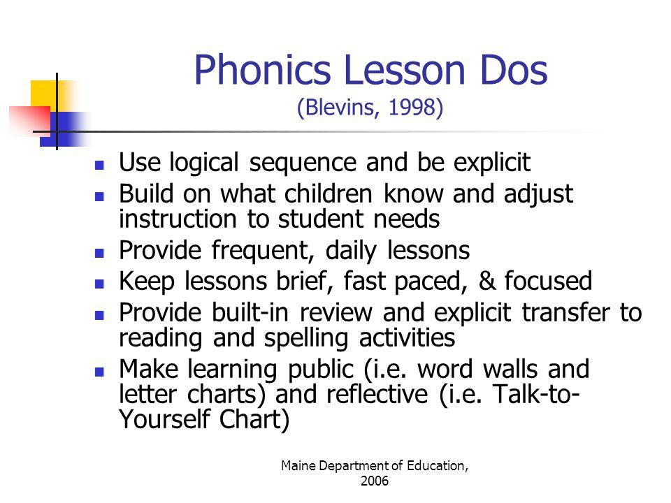Phonics Lesson Dos (Blevins, 1998)