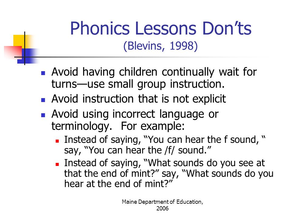 Phonics Lessons Don'ts (Blevins, 1998)