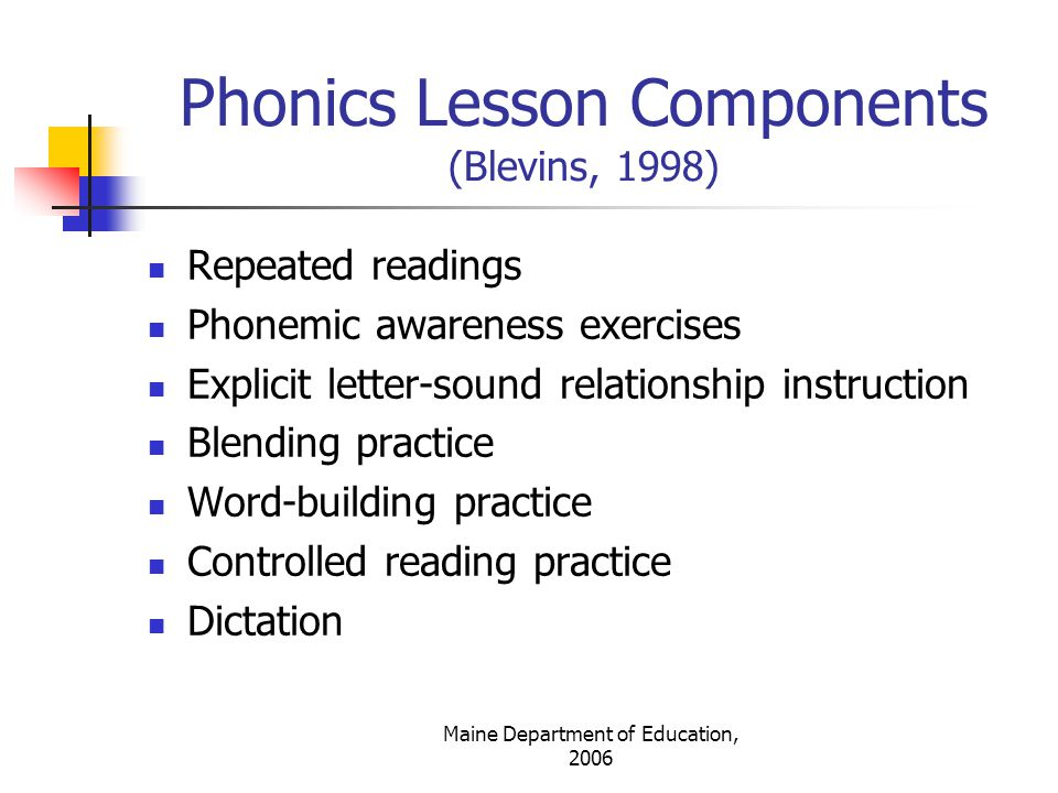 Phonics Lesson Components (Blevins, 1998)