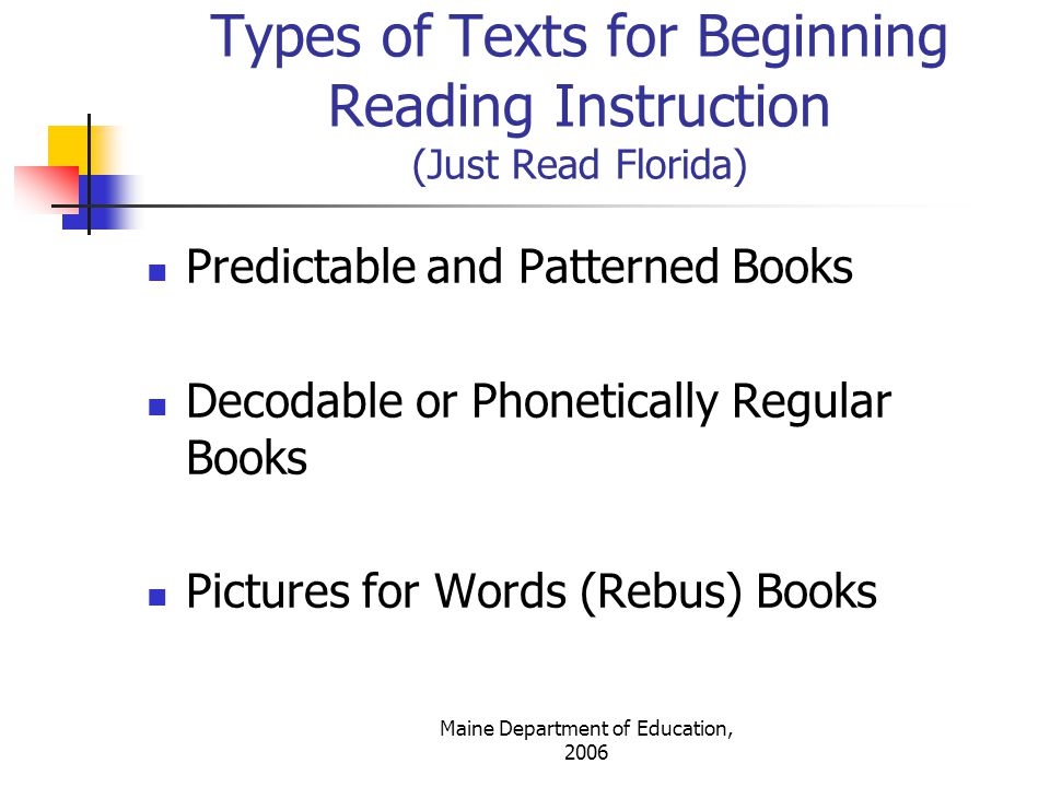 Types of Texts for Beginning Reading Instruction (Just Read Florida)
