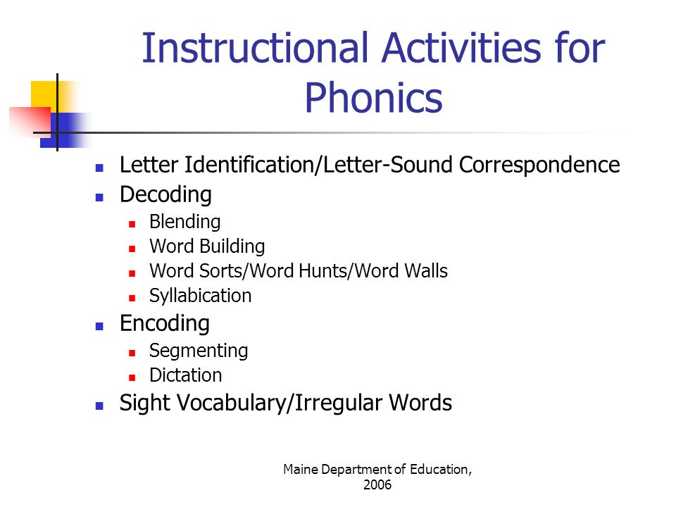 Instructional Activities for Phonics