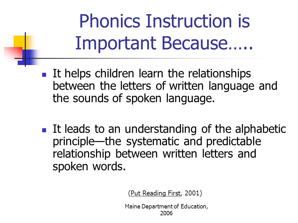 Phonics Instruction is Important Because…..