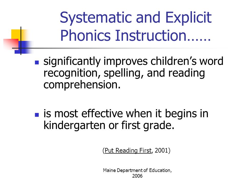Systematic and Explicit Phonics Instruction……