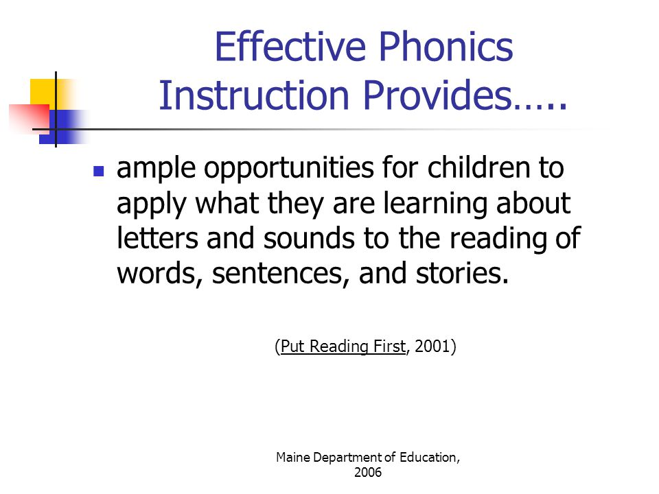 Effective Phonics Instruction Provides…..